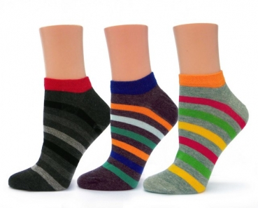 Damen Sneakersocken in bunten Ringelfarben im 3er Pack Gr. 35/38 & 39/42 im 3er Pack