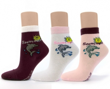 nahtlose Kindersocken DELFIN im 3er Pack cotton club Gr. 23/26, 27/30,  35/38 & 39/42