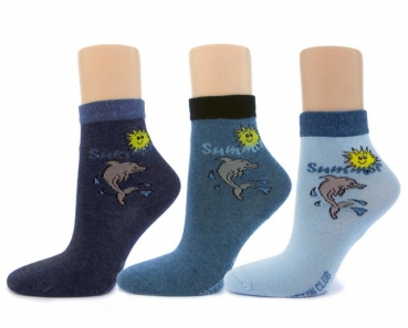 nahtlose Kindersocken DELFIN im 3er Pack cotton club Gr. 23/26 bis 39/42