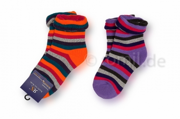"dicke Frottee Kinder Ringelsocken ""flieder/orange"" Gr. 19/22, 23/26 & 35/38 im 2er Pack"