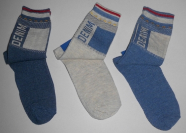 "Teenagersocken ""Demin/Jeans"" in natur, blau & jeansblau im 3er Pack Gr. 39/42 Aktion"