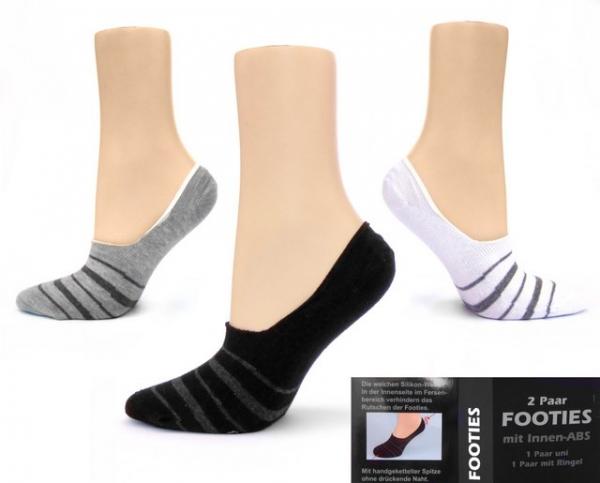 Ballerina Füßlinge Footies aus Baumwolle im 2er Pack Gr. 3538, 3942 & 4346 nahtlos