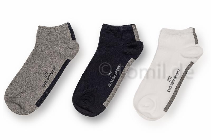 einfarbige Sneakersocken in weiß, beige & schwarz von RS Gr. 3942 bis 4750 im 4er Pack nahtlos