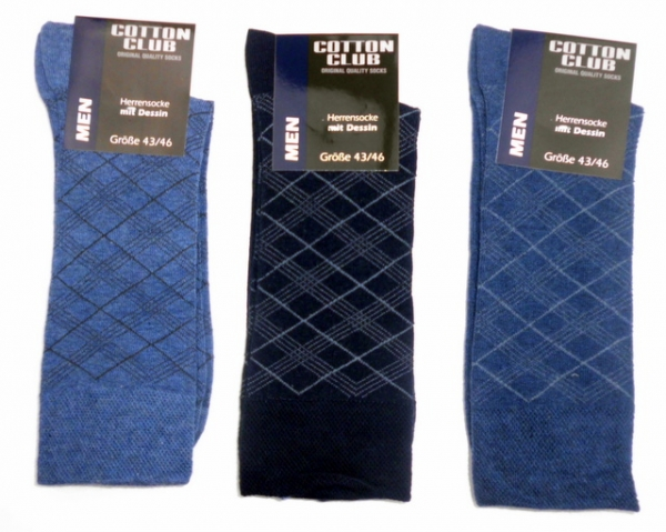 "Anzugsocken All Over Dessign ""Cotton club"" im 3er Pack & nahtlos Gr. 39/42 bis 47/50"