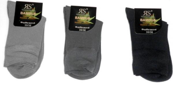3 Paar Damen Bambus Kurzschaft Socken ohne Gummi schwarz blau grau Gr 35 bis 42